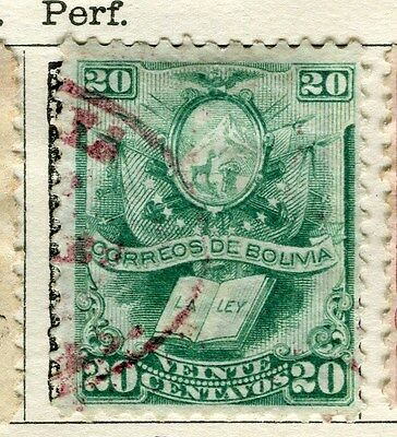 BOLIVIA;  1878 early classic Perf issue fine used 20c. value
