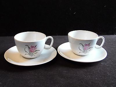 2 Vintage Pink Tulip Kenilworth by Paden City Cup & Saucer Sets
