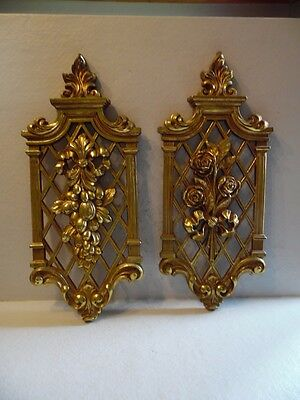 Pair Vintage Hollywood Regency Floral Gold Tone Wall Plaques Dart 1971