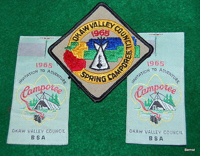 Vintage  Boy Scout - Three 1965 Okaw Valley Council Camporee Patches
