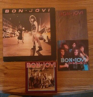 """lot of Bon Jovi 1st U.S. Lp record + 7"""" picture sleeves only in ex cond"""