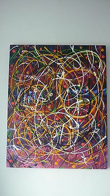 Seriously textured original vibrant abstract large painting acrylic box canvas