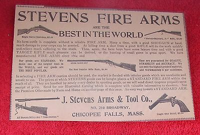 J.Stevens Arms-Small Laminated Print Ad-Fire Arms-Shot Gun-Rifle-Pistol-Prices