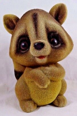 Vintage Fuzzy Flocked Raccoon Figurine