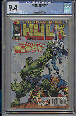 Incredible Hulk #449 CGC 9.4 NM Marvel 1997 Key 1st Thunderbolts white pages