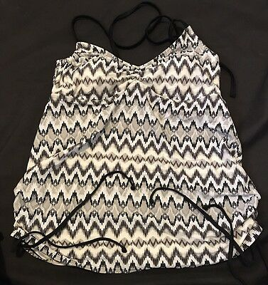 NWTS Liz Lange maternity tankini top Large grey/white/black Halter S1
