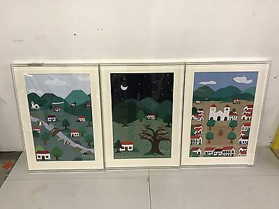 STUNNING  Plexiglass Framed Embroidery And Appliqué - A Work of Art - Lot Of 3