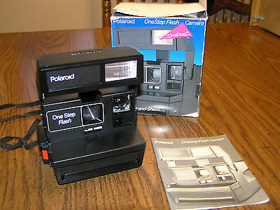Vtg Polaroid One Step Flash Instant Camera With Manual - Semi Tested Good Cond.