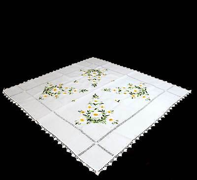 Exquisite daisy flower embroidered square vintage tablecloth measuring 90cm
