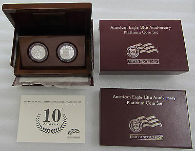 2007-W Proof Platinum American Eagle - 10th Anniversary 2- Coin Set w/ Box & CoA