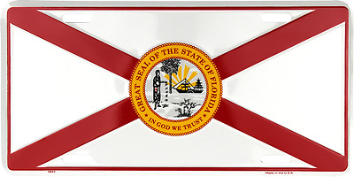 "State of Florida FL Flag 6""x12"" Aluminum License Plate Tag Made in USA"