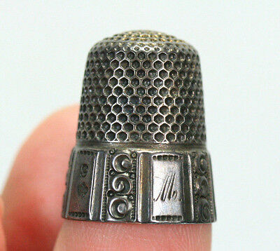 Antique Victorian Sterling Silver Thimble Ornate 10 Panel W/monogram Initials