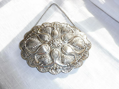 Repousse Sterling 900 Silver Wall Hanging Mirror