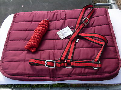 *** Burgundy Puffer Pad - Halter And Leadrope - Full Size - New # 37