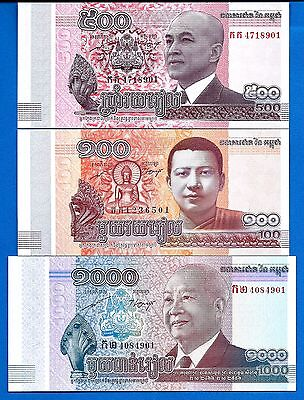 Cambodia 100,500,1000 Riels Year 2014 Uncirculated Set # 10 FREE SHIPPING