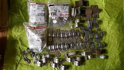 """Lot of 100+ misc Most 1/2"""" 2-Hole Pipe Strap Steel Conduit New and Used"""