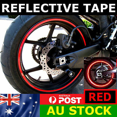 New RIM stickers Red Reflective Tape 6mm Motorcycle Motorbike Car