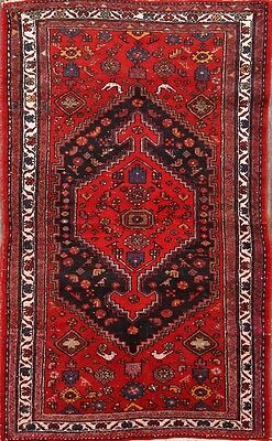 Great Deal Geometric Tribal Red/Navy Blue 4x7 Hamadan Persian Oriental Area Rug