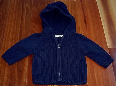 Grain De Ble French Designer Baby Boys Hooded Cardigan Sz 3 Months