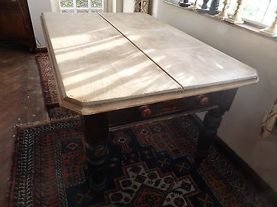 Antique Victorian Pine Kitchen Table with End Drawers, Turned Column Legs