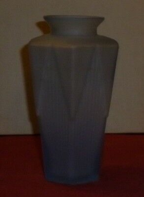 Vintage Frosted  Blue Glass  Art Deco Motif Vase Great Condition