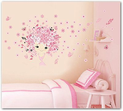 Fairies Girl Flower Butterfly Flowers Wall Stickers For Kids Rooms infantil