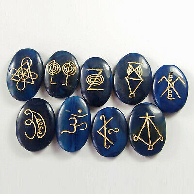 KARUNA REIKI STONES - Blue Onyx - Set of 9 Stones. With carry wallet.