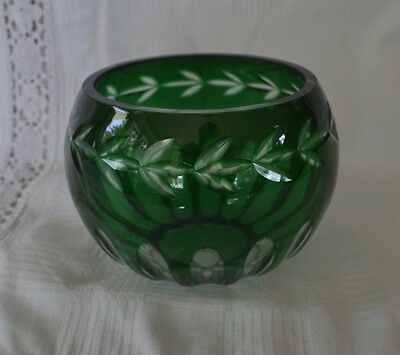 Emerald Green Cut to Clear Glass Bowl