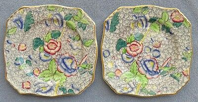 TWO Royal Winton Blue Anemone Floral Chintz Square Bread Plates England