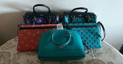 2665d5d8d668 NWT COACH Mini Satchel Crossbody Purse Bag Leather Floral Solid Turquoise