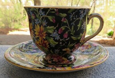 Royal Winton Nantwich Black Floral Chintz Demitasse Cup and Saucer Set England