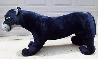 "HUGE Jumbo Large Vtg Black Panther Plush Stuffed Animal Genie Toys 51"" Long"