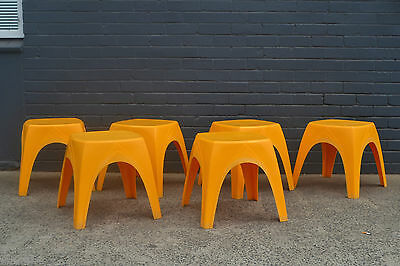 Vintage Retro 70s stools  chair stackable stool yellow kartell era stool x 6
