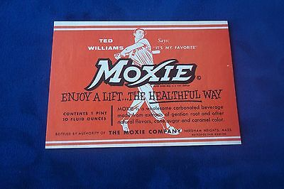 Ted Williams Moxie Paper Label