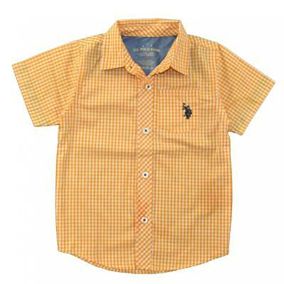 US Polo Assn Boys Checks Orange Woven Shirt Size 4 5/6 7 $34