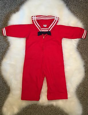 Vintage Baby Toddler Boy Romper~Coveralls~Sailor Suit~Red~12 mo? EUC