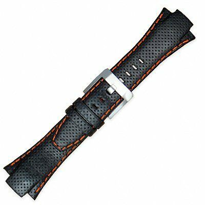 Replacement Durable Sportura Leather Watch Band Orange Stitching 15mm by Seiko