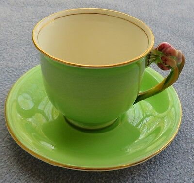 Royal Winton Green Tiger Lily Demitasse Cup and Saucer Set England