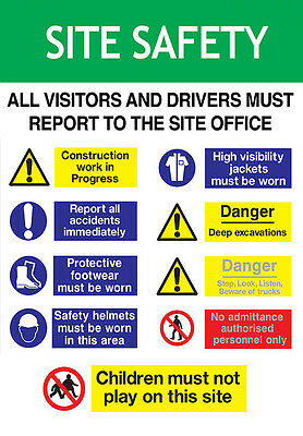 Construction Site Safety Board (A2 594x420mm) on 5mm PVC Foamex