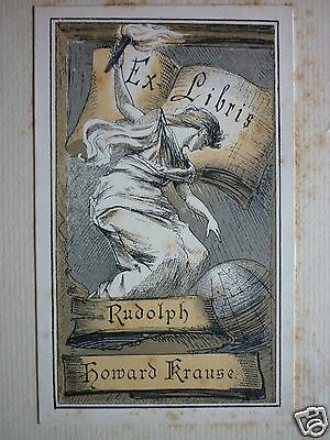 Victorian Bookplate Rudolph Howard Krause Ex Libris Mounted On Board C.1900
