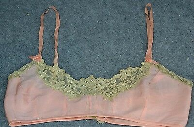 bra flattener 1920 flapper  unusual silk lace pink antique original