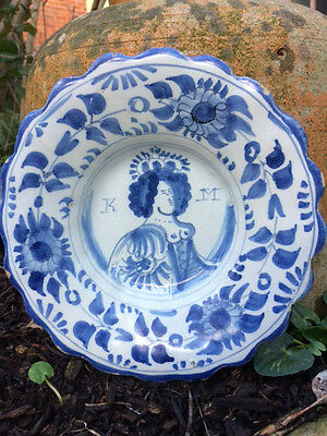 Dutch Delft Queen Mary Dish 1690 Delftware Maiolica Faience Tin Glazed 17Th Cent