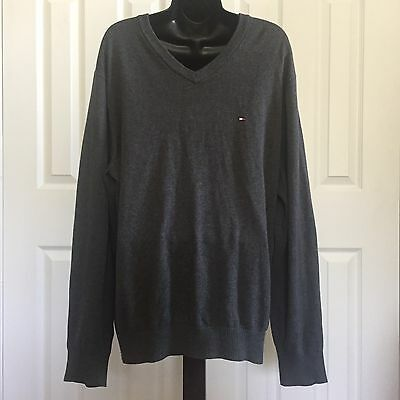 Men's Gray Tommy Hilfiger Large Cotton V Neck Thin Knit Sweater Career Wear