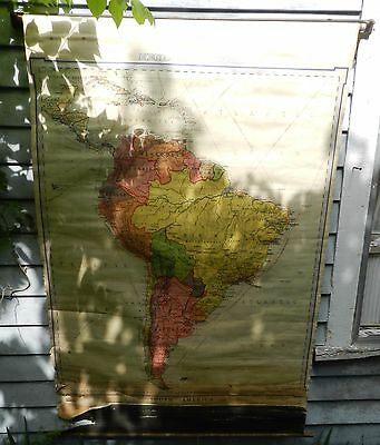 Vintage 1931 Pull Down Classroom Map of South America - Denoyer-Geppert