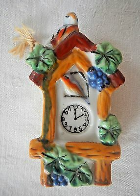 Vintage Ceramic Cuckoo Coo Coo Clock Wall Pocket Blue Purple Grape Birds Japan