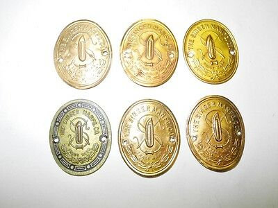 Lot Of 6 Vintage Singer Sewing Machine Brass Logo Medallions, Original Condition
