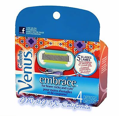 Gillette Venus Embrace Refill Blades, 4 Cartridges, Free Shipping, #026