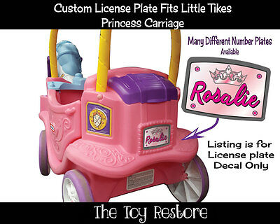 License Plate Decals fits Little Tikes Princess Carriage Ride Toy Pink Crown