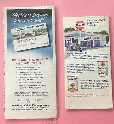 JE134 Vintage LOT of 2 Maps Mobil Gulf Oil Wisconsin Indiana