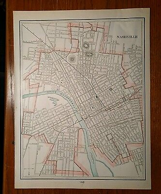 "1901 NASHVILLE TENNESSEE Map Antique Original Davidson County ""ERROR"" RR MAPZ42"